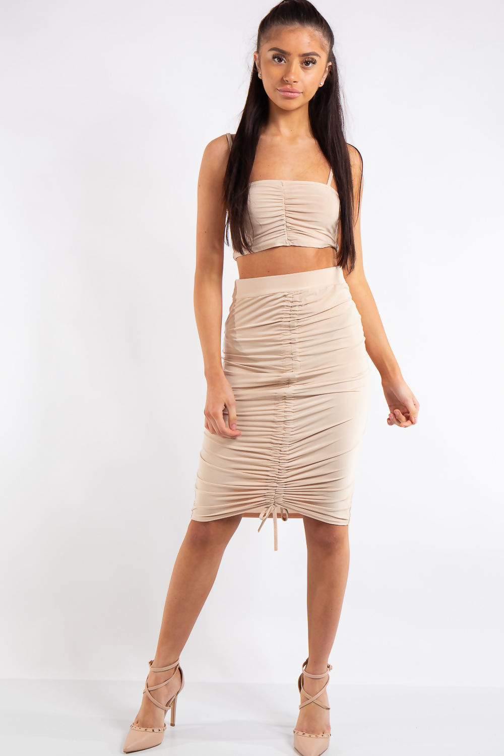 7b3f9c7f15 Aleah Nude Ruched Slinky Crop Top Midi Skirt Co-ord