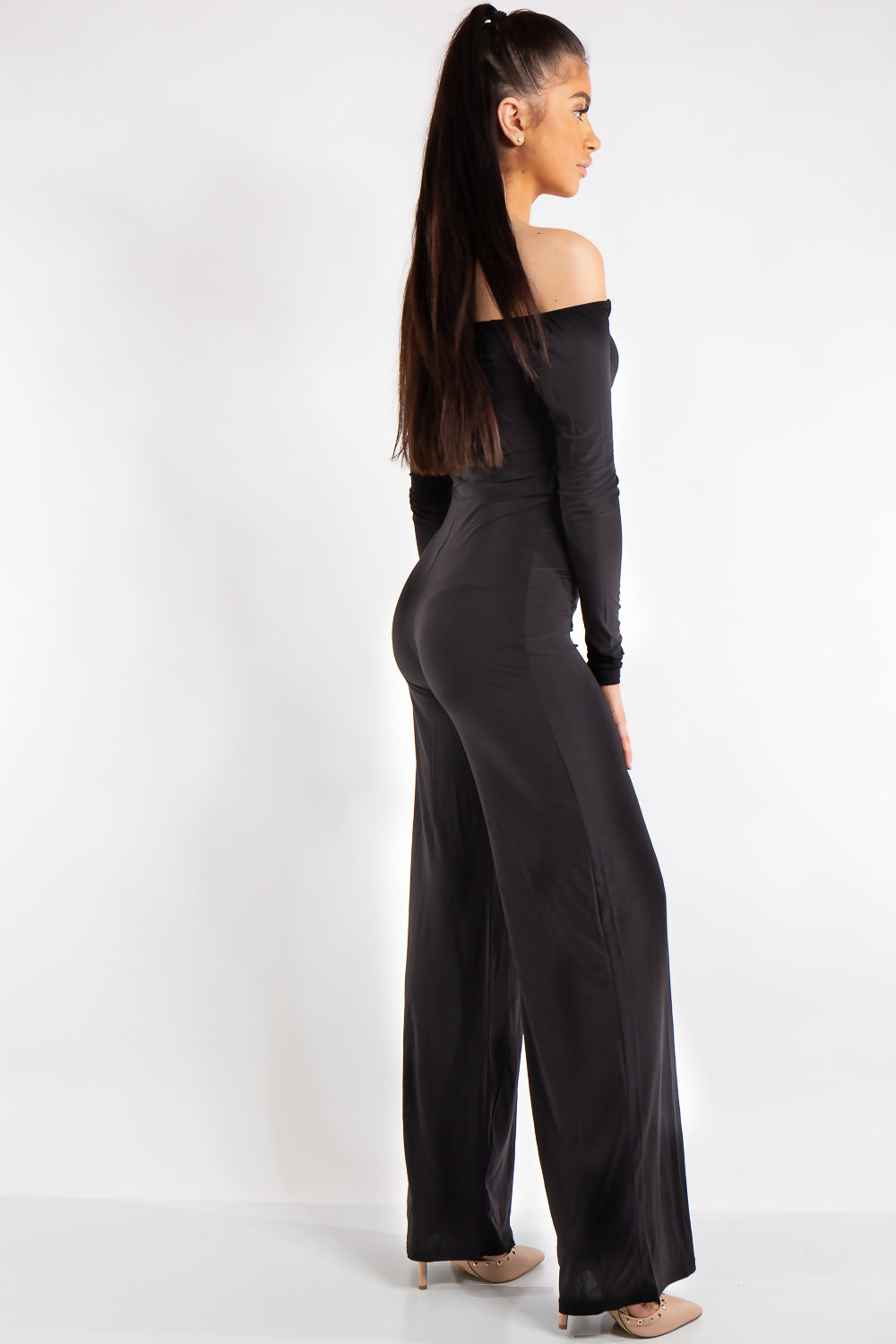 f1fc7476de Sabrina Black Off Shoulder Bardot Jumpsuit