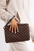Macy Brown Checked Clutch Bag