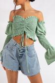 Sarah Mint Green Bardot Smocked Crop Top