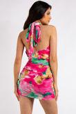 Julia Pink Tie Dye Halter Neck Mini Dress