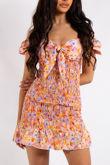 Samantha Orange Floral Print Smocked Cupped Mini Dress
