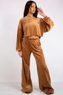 Evelyn Camel Velour Cropped Loungewear Set