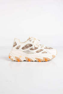 Mila Beige Designer Inspired Lace Up Chunky Trainers