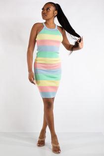 Livvy Pastel Stripe Rainbow Racer Back Bodycon Dress