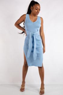 Hailey Baby Blue Ribbed Slit Bodycon Dress
