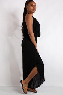 Brielle Black Flowy Elastic Waist Slit Leg Jumpsuit