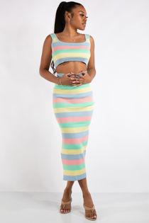 Sadie Blue Pastel Stripe Rainbow Co-Ord Set