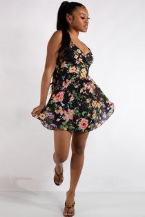 Ivy Black Floral Print Pleated Mini Dress