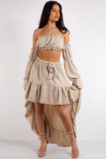 Savannah Stone Frill Crop Top and High low skirt Co Ord set