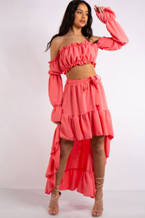 Savannah Coral Frill Crop Top and High low skirt Co Ord set