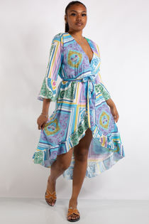 Kennedy Blue Scarf Print Midi Dress