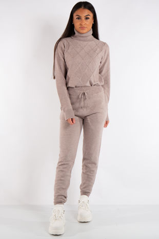 Lexi Beige Turtle Neck Diamond Design Loungewear Set