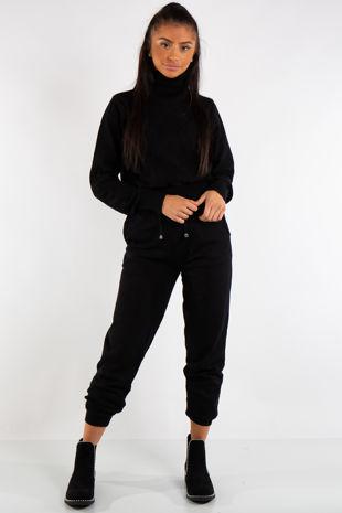 Lexi Black Turtle Neck Diamond Design Loungewear Set
