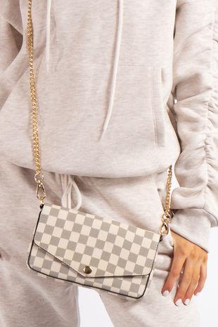 Mae Cream Checked Mini Crossbody / Clutch Bag