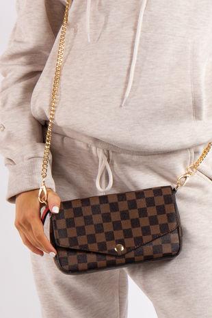 Mae Brown Checked Mini Crossbody / Clutch Bag