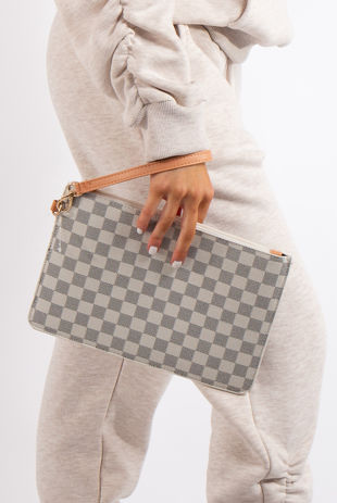 Macy Cream Checked Clutch Bag