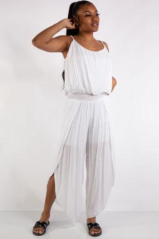 Brielle White Flowy Elastic Waist Slit Leg Jumpsuit