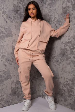 Luna Blush Pocket Detail Hooded loungewear set