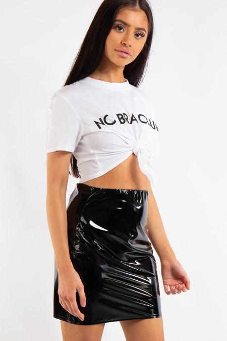 Amari Black Vinyl Bodycon Mini Skirt