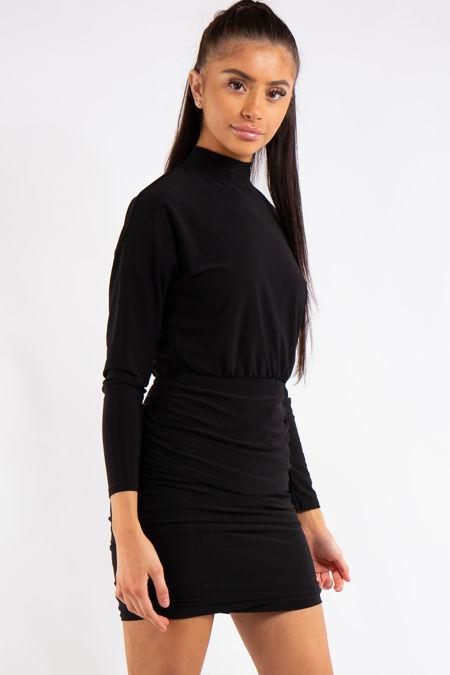 Kassidy Black Ruched High Neck Dress