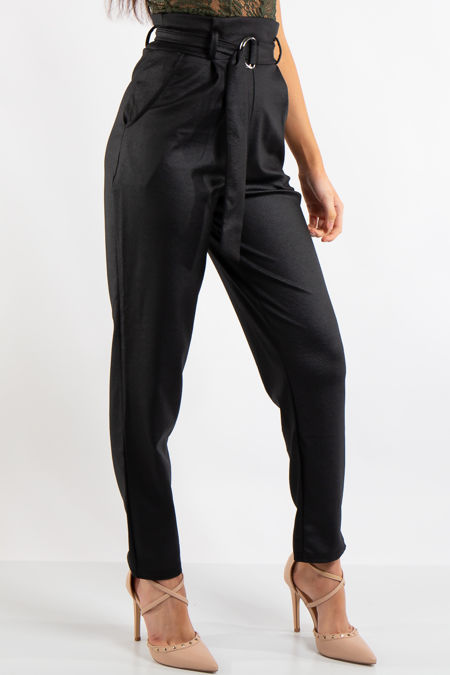 Skye Black Belted Croc Print Tapered Trousers