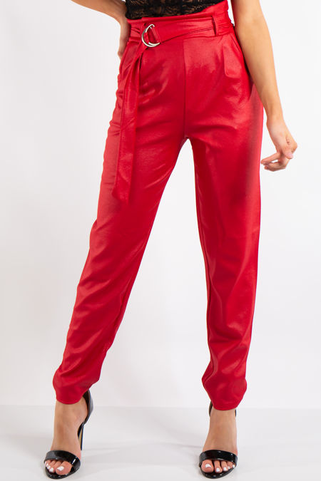 Skye Red Belted Croc Print Tapered Trousers