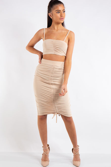 Aleah Nude Ruched Slinky Crop Top Midi Skirt Co-ord