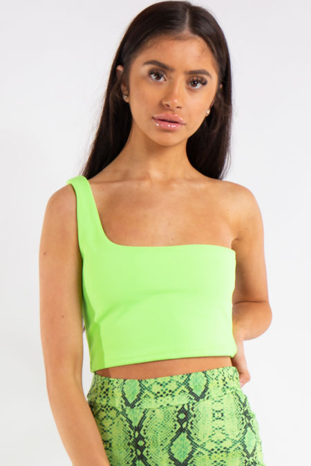Carly Neon Green One Shouldered Crop Top