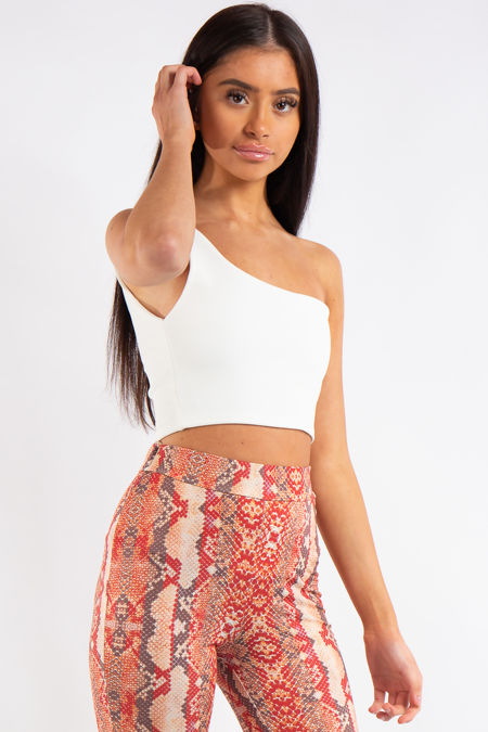 Carly White One Shouldered Crop Top