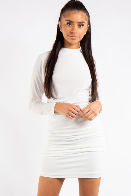 Kassidy White Ruched High Neck Dress