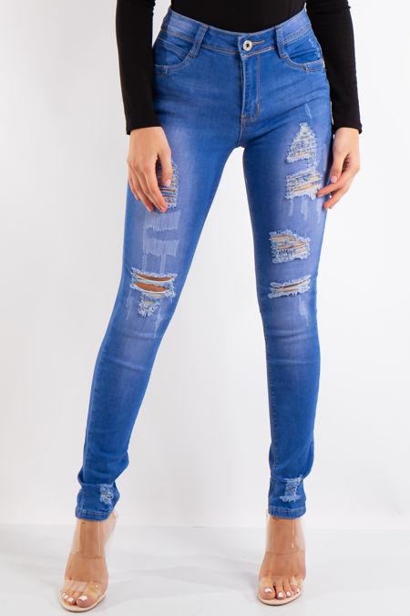 Gia Blue Denim Distressed Skinny Jeans