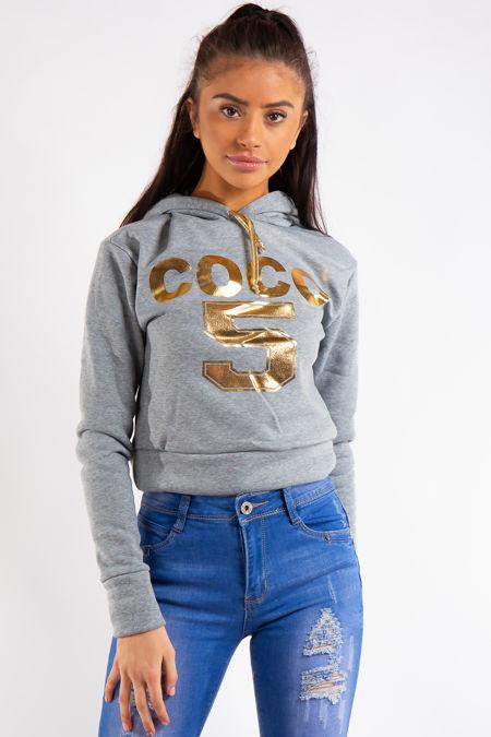 Grey Coco Slogan Hoodie Cropped Jumper