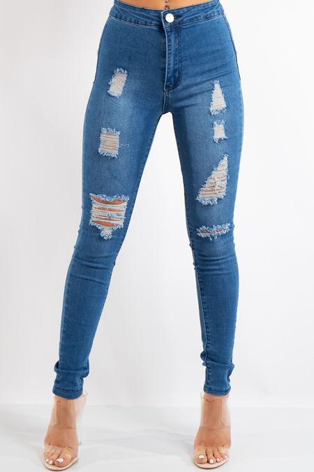 Kyla Blue Denim High Waist Distressed Jeans