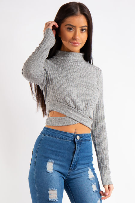 Erin Grey Ribbed Turtle Neck Cropped Cut out Top