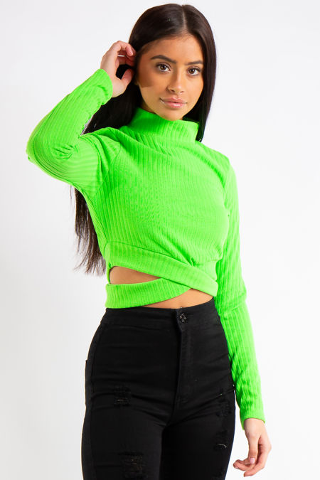 Erin Lime Ribbed Turtle Neck Cropped Cut out Top