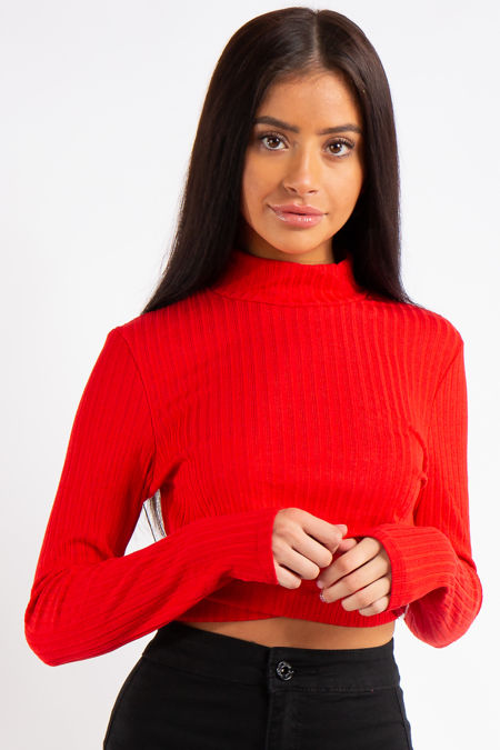Erin Red Ribbed Turtle Neck Cropped Cut out Top