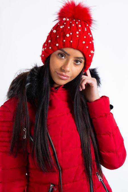 Braelynn Red Pearl Detail Fur Bobble Beanie