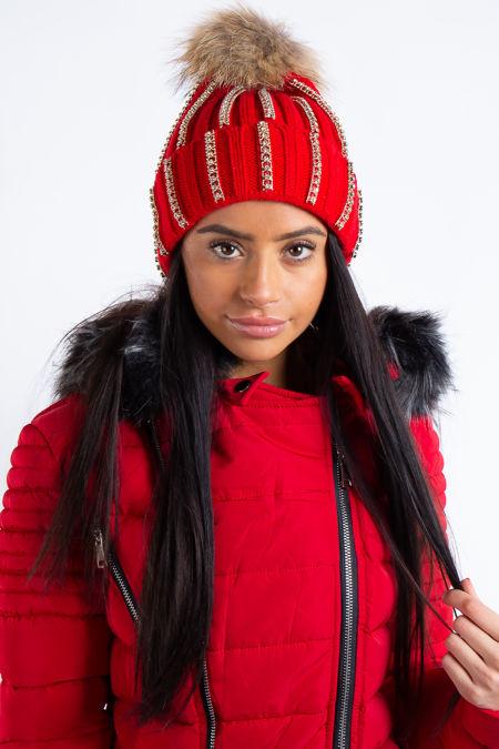 Red Gold Diamanté Detail Fur Bobble Beanie Hat