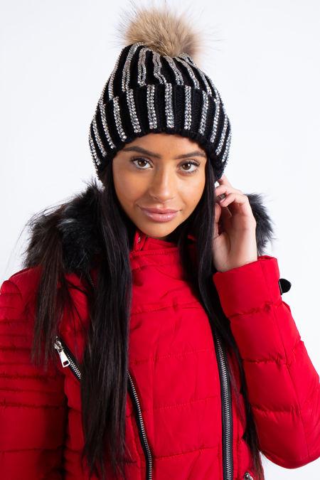 Harlow Black Bling Rhinestone Detail Fur Bobble Beanie Hat