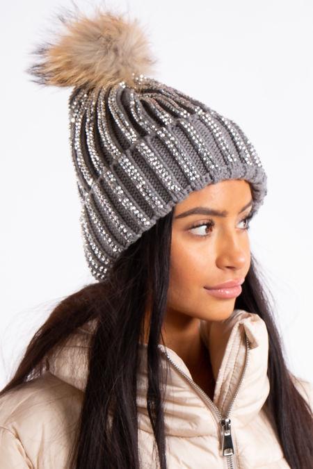 Harlow Grey Bling Rhinestone Detail Fur Bobble Beanie Hat