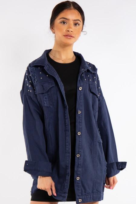Blue Long stud Distressed Denim Jacket