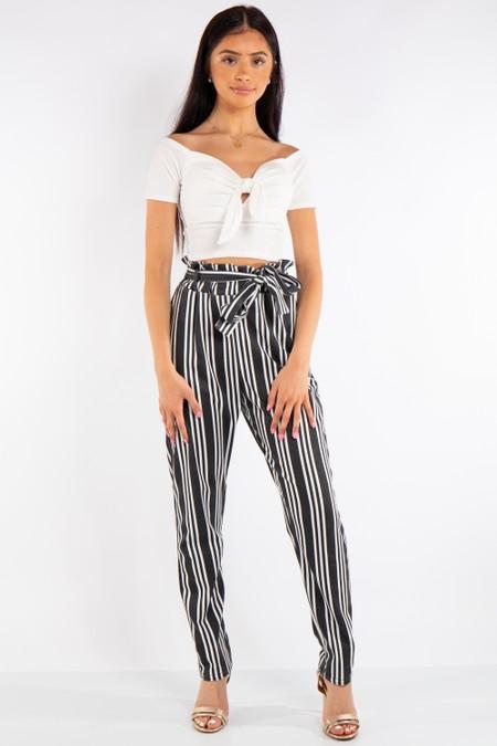 Black Striped Paper Bag Trousers