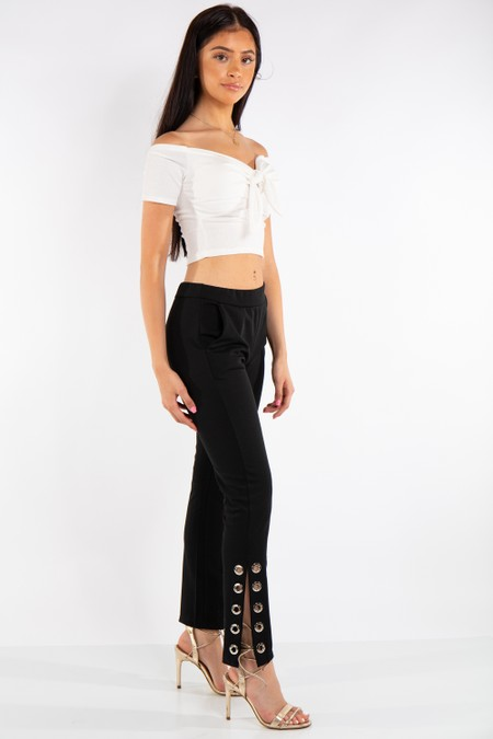 Black Fitted Eyelet Trousers