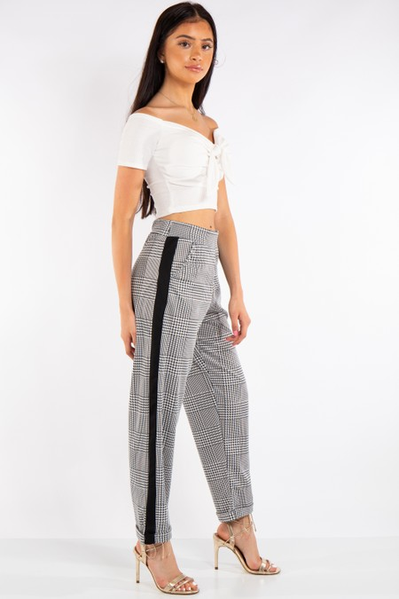 Dogtooth Print High Waist Trousers