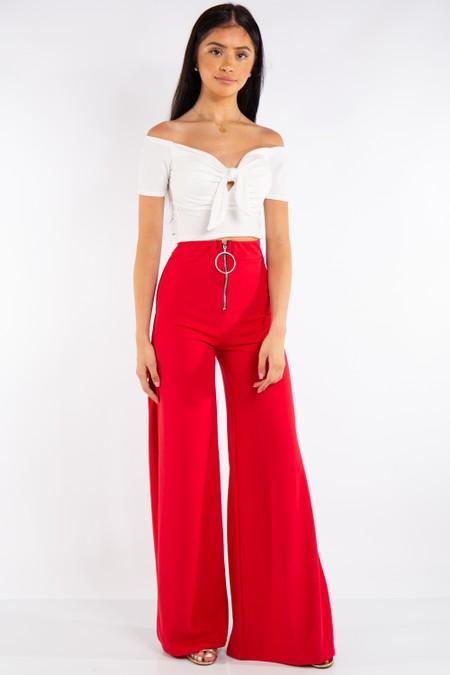 Red High Waist Side Split Trousers