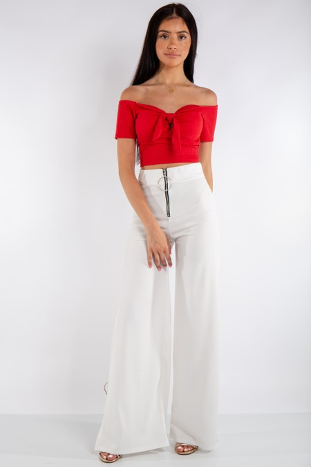 these White High Waist Side Split Trousers