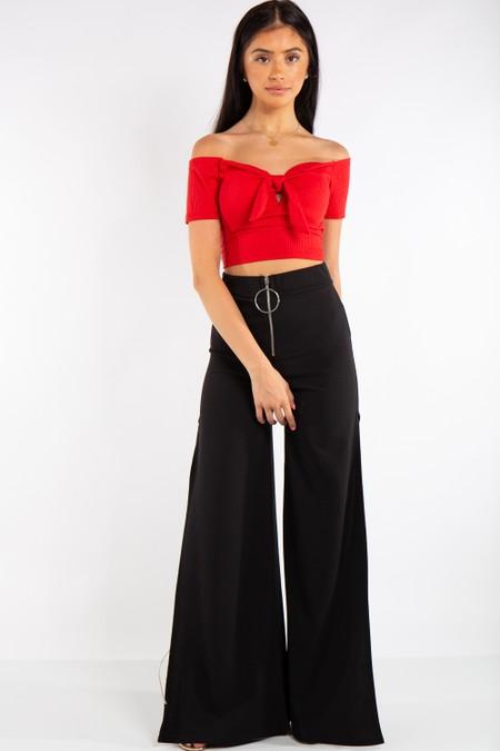 Black High Waist Side Split Trousers