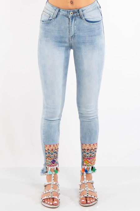 Denim AZTEC sequin Patch Straight Jeans