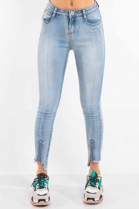 Blue Denim zip Hem Skinny Jeans
